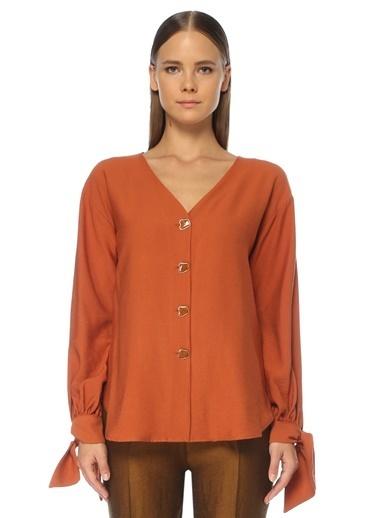 NetWork NetWork 1075382 V Yaka Uzun Kollu Kadın Gömlek Kahve